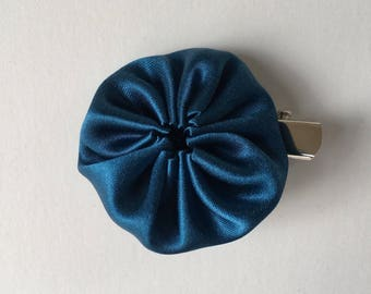 Yo-yo 2 Way Clip - Small Hair clip and Brooch Pin - Thai Silk Fabric, Dark Blue, Japanese Hair Accessory, Yo-yo Brooch, Handmade, Kawaii