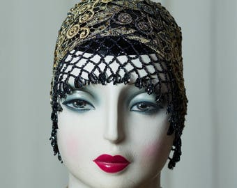 "Spectacular 20s/20s ""Gatsby"" cap/cap/Cloche in roaring Twenties style, beautiful to Charleston Flapper outfit, Headdress, noble"