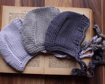 knit baby bonnet, grey bonnet, merino bonnet, newborn bonnet, toddler bonnet, nb 0-3 3-6 6-12 12-24 months baby shower gift idea, phptp prop