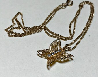 Vintage filigree and rhinestone butterfly pendant with 18 inch utility chain, butterfly necklace, dainty necklace,  1980s