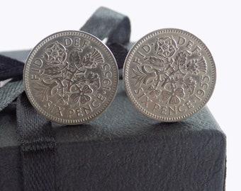 British Cufflinks, Coin Gift, Unique Cufflinks, Cufflinks UK, Cufflinks Mens, Birthdate Cufflinks, 1955 Coins, Cufflinks, Birth Year Gifts