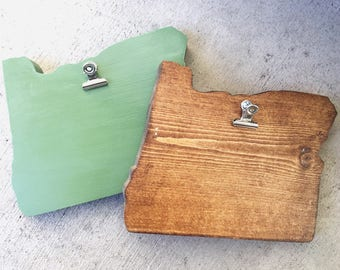 State of Oregon Wood Clipboard
