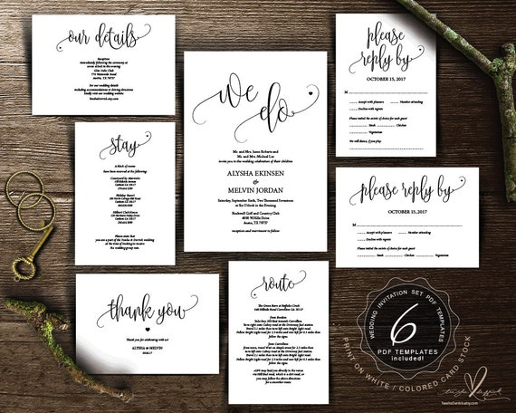 We do wedding invitation cards suite instant download pdf we do wedding invitation cards suite instant download pdf editable template kraft rustic calligraphy theme wedding set ted3341 stopboris Choice Image