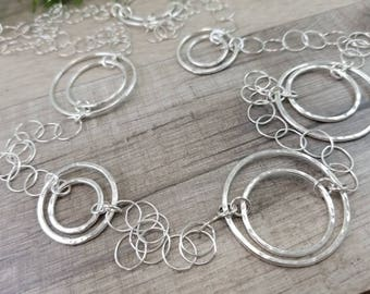 Sterling Silver Long Circle Necklace
