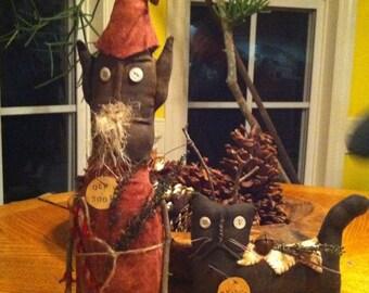 Primitive Christmas Old Soot Santa and Sticks-