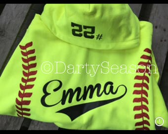 Personalized Girls Softball, Basketball or Baseball Hoodie w Player Name Number Glitter Laces Hoodie Sweatshirt Softball Mom Easter Gift