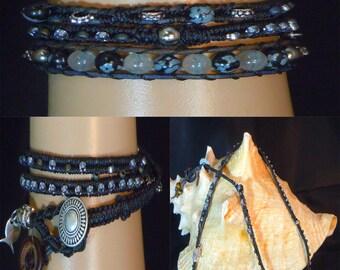BT124 Handmade Gemstone Triple Wrap Bracelet
