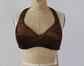 vintage 1970s halter top / NOS 70s bra top / 70s bikini top / 70s chocolate brown velvet bra top / 70s cropped halter top / large XL