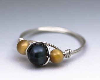 Blue & Golden Tigers Eye Gemstone Sterling Silver Wire Wrapped Bead Ring - Made to Order, Ships Fast!