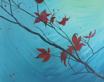 Maple leaf tree painting on canvas, autumnal colours, tree branch, canvas art, woodland art, ink painting, Maple tree, red leaves, red leaf