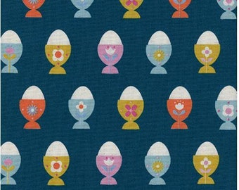 Welsummer by Kimberly Kight for Cotton and Steel -- Fat Quarter of Egg Cups in Navy