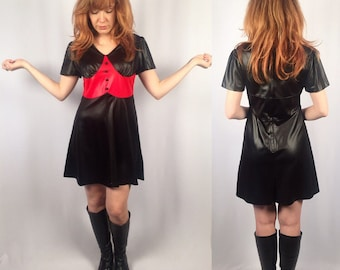 Vintage 1960's Black and Red Mod Babydoll Dress Small