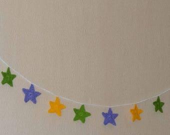 Stars crochet Garland / yellow - green - purple