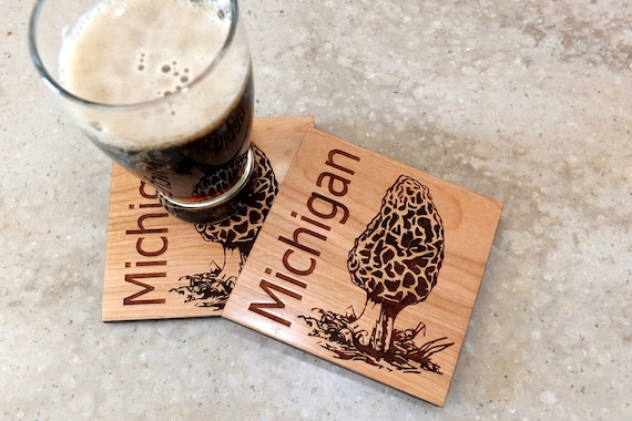 Wooden Michigan Morel Coasters Engraved on Cherry Wood. Housewarming Gift-Home Decor-Home Bar Decor-Birthday Gift-Wedding Gift