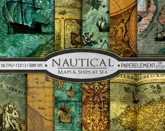 Nautical Scrapbook Paper: Nautical Digital Paper, Sea Digital Paper, Map Digital Paper, Nautical Background, Printable Nautical Paper 12x12