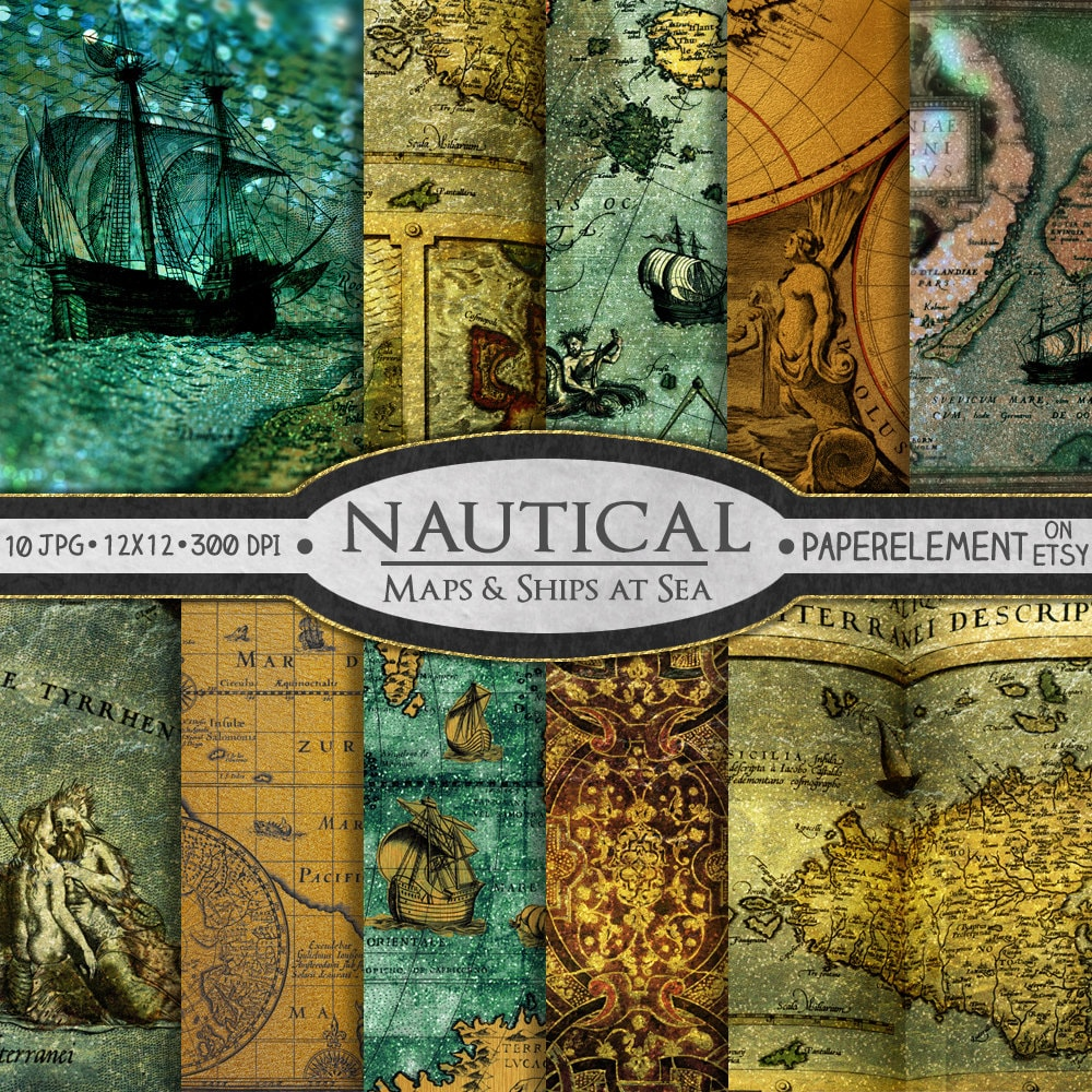 Nautical scrapbook paper nautical digital paper sea digital zoom gumiabroncs