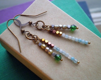 Bohemian Beaded Dangle Earrings - Crystal Stone & Glass Bead Stack Dangles - Rustic Modern Beads Boho Dangle Earrings Jewelry Gift For Her