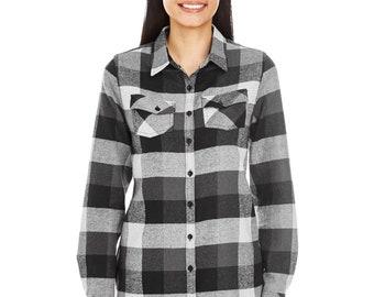 Custom embroidered Ladies Plaid Boyfriend Flannel Shirt