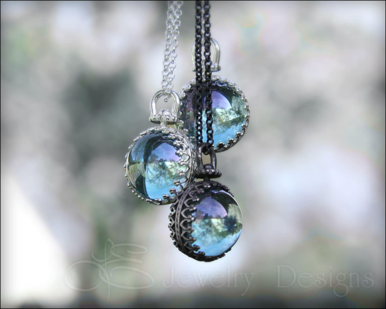 Aqua aura sphere necklace sterling aqua aura quartz ampliar aloadofball Image collections