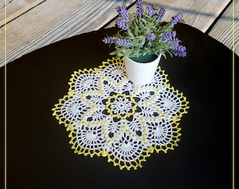 "Small crochet Doily 9.4"" white + light yellow"
