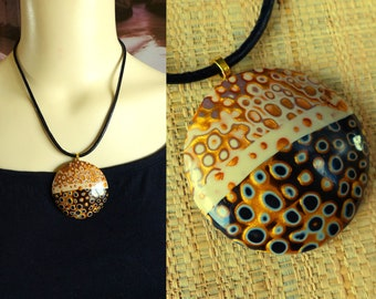 """Choker """"Klimt"""" gold and black polymer clay - fimo"""