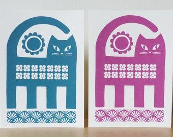 Retro Cat Greetings Card, Retro Cat Birthday Card, Cat and Flowers Card, Vintage Cat Card, Cat Birthday Card, Mid Century Cat Card