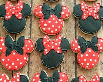 minnie mouse cookies/ disney cookies/ birthday party idea / 1 dozen