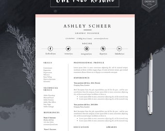 Professional Resume Template, Resume Template For Word, Cv Template With  FREE Cover Letter,