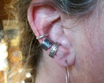 Ear Cuff Hoop - Thick Half Round Sterling Silver - Handmade