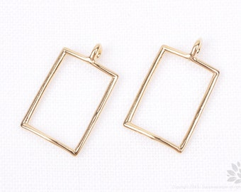 P661-03-G// Gold Plated Simple Rectangle Pendant, 2 pcs