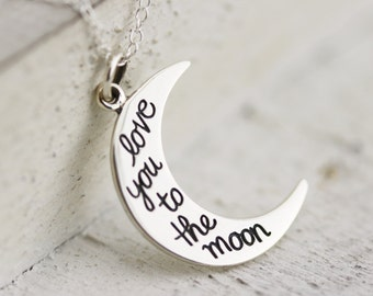 Love You To The Moon Necklace - Sterling Silver Love You To The Moon Pendant - I Love You To The Moon And Back Jewelry