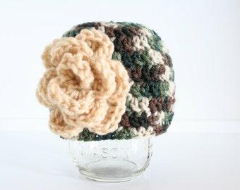 Camo hat for newborn girls, newborn baby camo hat, newborn baby girl camouflage beanie with flower
