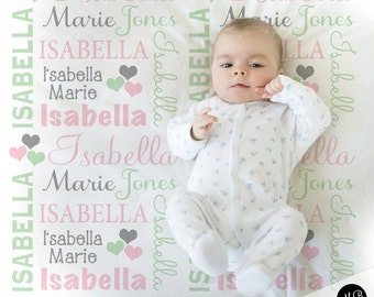 Baby blankets etsy hearts name blanket in pink mint and gray for baby girl personalized baby gift blanket baby blanket personalized blanket choose colors negle Images