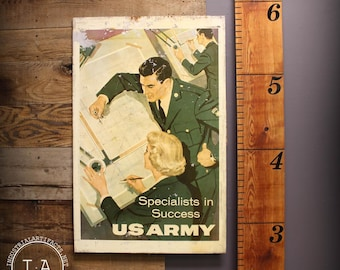 Vintage Double Sided United States Army Recruitment Metal Military Sign