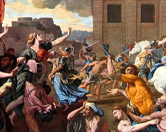 The Rape of The Sabine Women by Poussin - Fine Art Print - Masterpiece Painting - Reproduction Print - 12 x 10