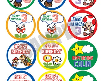 Super Mario Brother Cupcake Toppers