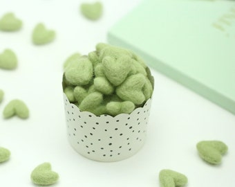 Felt Hearts -  3 to 4 cm // Avocado Felt Hearts