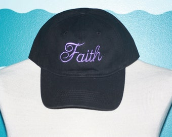 Embroidered Faith Baseball hat - Custom Faith baseball cap - Embroidered hat
