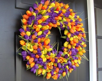 SPRING WREATH SALE Tulips Spring Wreath- Spring Decor- Spring Tulip Wreath, Custom Colors and Sizes- Summer Wreath- The Original Tulip Wreat