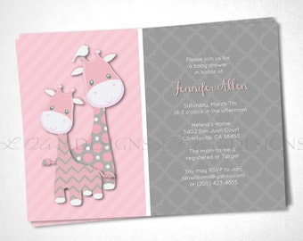 Giraffes Baby Shower or Special Event Invitation - Pink - DIY Printable