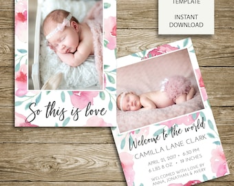INSTANT DOWNLOAD - Watercolor Peonies Birth Announcement - 5x7 Photoshop Template