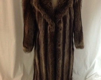1980s Full Length Fur Coat, Vintage Raccoon Fur Coat, Striped Fur, Medium Brown Fur Coat, Womens Racoon Coat Size M