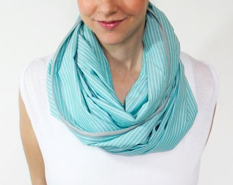 Infinity Nursing Scarf ,Turquoise, White Stripes