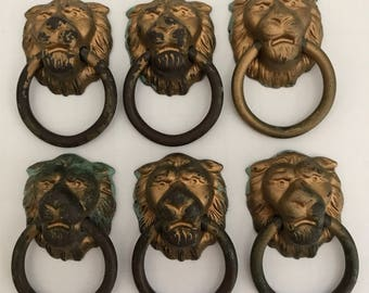 Vintage Cast Brass Lion Pulls Drawer Pulls Collectible Upcycle Jewelry Organizer Steampunk Set of 6