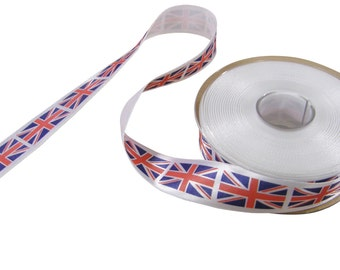 Union Jack Red White Blue Printed Ribbon 25mm *4 Lengths*