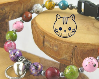 Gumball multicolor acrylic Kitty Cat Bling Beaded Collar complete with breakaway safety buckle bell and tag ring