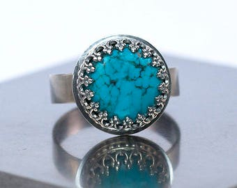 Turquoise and Sterling Silver Ring / Made to Order / Crown Bezel Turquoise Ring