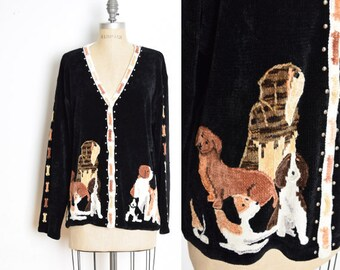 vintage 90s cardigan, 90s sweater, dogs cardigan, dog print doggies, 90s jumper, chenille sweater, black sweater, 90s top, 90s clothing L XL