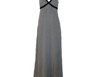 Vintage Rudi Gernreich For Harmon Knitwear Black and White Check, Empire Waist Maxi Dress 1971