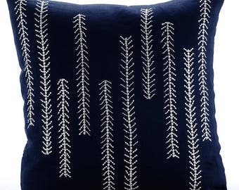 "Navy Blue Decorative Pillow Cover,  Square  Sequins & Beaded 18""x18"" Cotton Linen Throw Pillows Cover - We Go Up And Down"